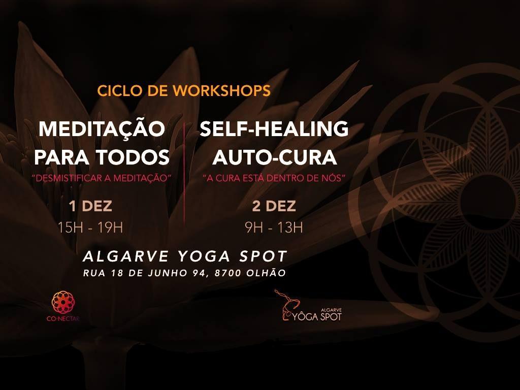 """Ciclo Workshops: """"Meditação para todos"""" e """"Self-Healing Auto-Cura"""""""
